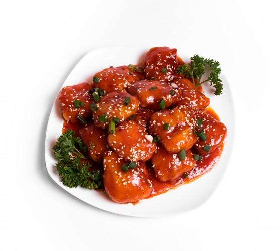160 Смажений сир Тофу під гостро-солодким соусом Чилі