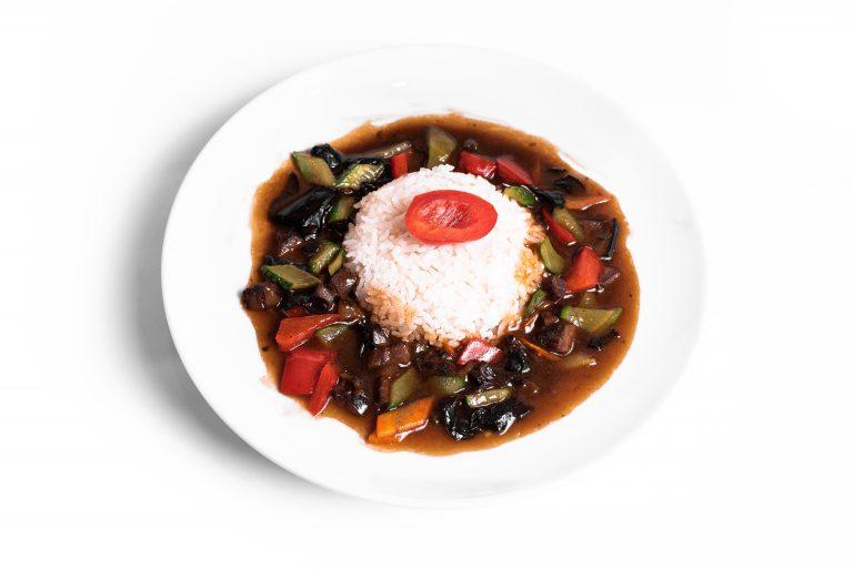 50 Рис з телятиною, овочами та грибами Муер